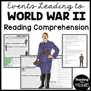 World War 2- Events leading up to World War II Reading Comprehension Worksheet
