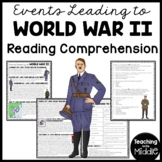 World War II 2- Events leading up to World War II Reading Comprehension