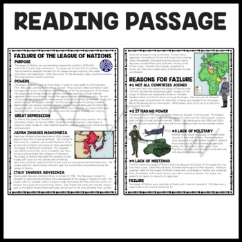 World War II- Failure of the League of Nations Reading Comprehension Worksheet