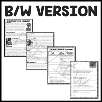 World War 2- Hitler Youth Movement Reading Comprehension Worksheet, NAZI