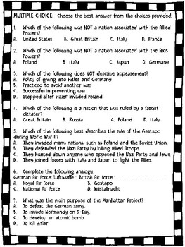 World War II (2) Important Terms, Questions, Worksheet, Vocabulary