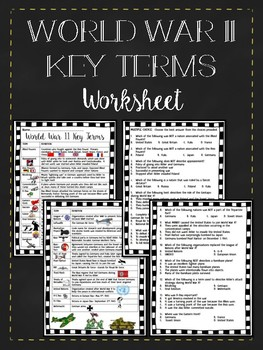 World War II (2) Important Terms, Questions, Worksheet, Vo