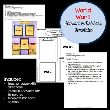 World War 2 Interactive Notebook Templates