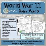 World War 2 Manhattan Project Activity and Part 3 Notes