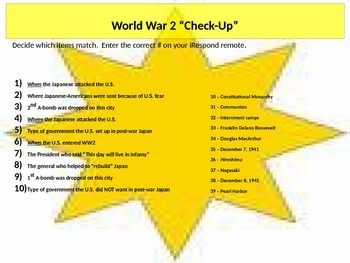 World War 2 Matching Assessment