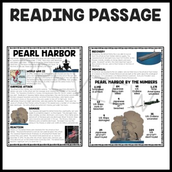 World War 2- Pearl Harbor Reading Comprehension Worksheet and DBQ