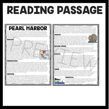 World War 2 Pearl Harbor Reading Comprehension Worksheet ...