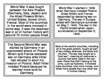 World War 2 Picture Match Task Cards (26 Cards)