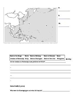 World War 2 (Post Pearl Harbor) Assessment (Test)