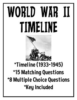 World War 2- Timeline with questions- matching, multiple choice