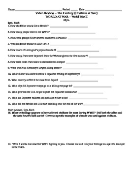 World War 2 Video Review of The Century- 3 Video Review Sheets