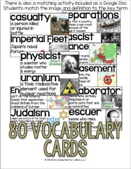World War 2 Vocabulary Cards, World War II, WW2, WWII Word Wall
