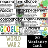 World War 2 Vocabulary Cards, World War II, WW2, WWII Word Wall
