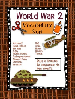 World War 2 Vocabulary Word Sort