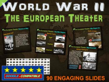 World War 2 (WWII) EUROPEAN THEATER 90-slide PPT w/ note handouts & video links