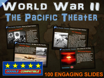 World War 2 (WWII) PACIFIC THEATER 100-slide PPT w/ note handouts & video links