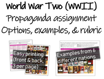 World War 2 (WWII) propaganda Assignment: 6 nations, exampes, and rubric
