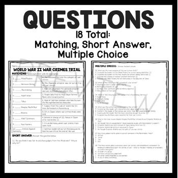 World War 2- War Crimes Trials Reading Comprehension- Worksheet, Nuremberg