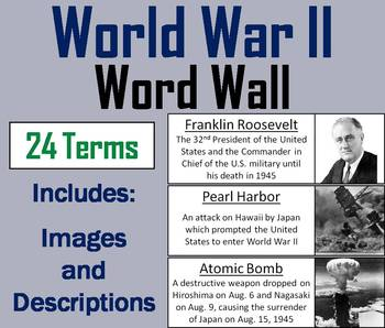 World War 2 Word Wall Cards