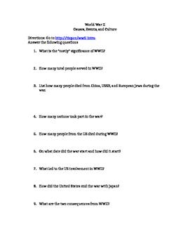World War 2 Worksheet - Online