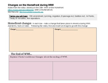 World War I Guided Notes and Activities