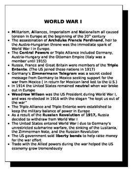 World War I review sheet