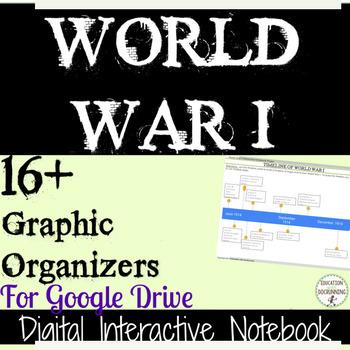 World War I  16+ Digital Interactive Notebook Graphic Organizers