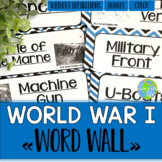 World War I Word Wall without definitions