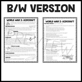 World War I Aircraft Reading Comprehension Worksheet WWI