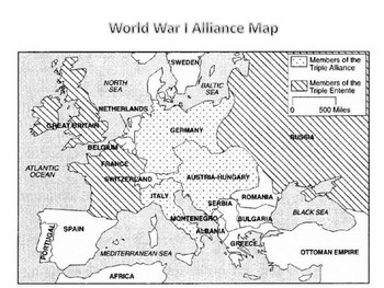 World War I Alliance Map by Learning Listings | Teachers Pay Teachers