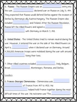 World War I Allied Powers Internet Scavenger Hunt WebQuest Activity