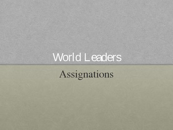 World War I:  Assassinations Powerpoint