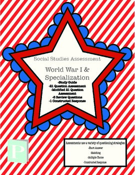 World War I Assessment with Study Guide
