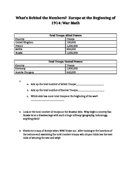 World War I Causes Anticipation Guide AND WWI Math