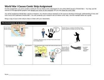 World War I Causes Comic Strip Assignment