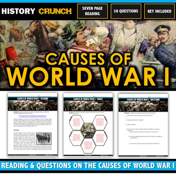 World War I Causes - Reading, Questions, Chart and Key (21 Pages/5 Causes)