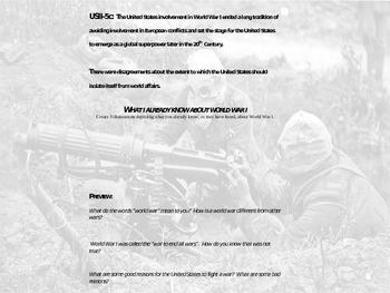 World War I - Causes (US History II/European History)