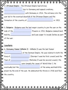 World War I Central Powers Internet Scavenger Hunt WebQuest Activity