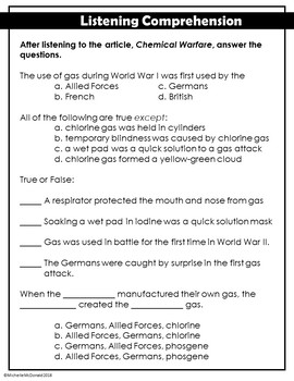 World War I: Chemical Warfare Close Reading Passage (FREE)