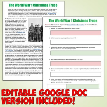 World War I Christmas Truce Article and Worksheet by Students of History