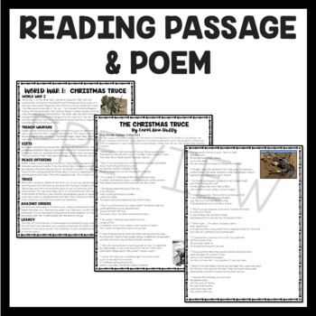 World War I Christmas Truce Reading Comprehension Informational and Poem