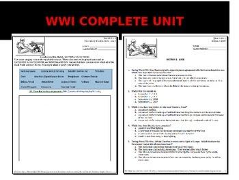High School World War I - Complete Unit
