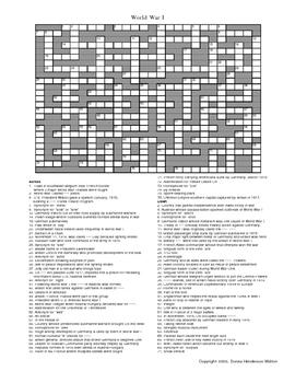 World War I Crossword Puzzle