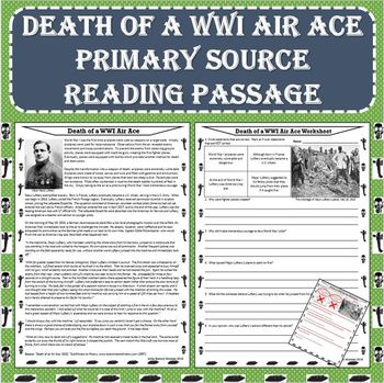 World War I - Death of a WWI Air Ace - Primary Source Reading Passage