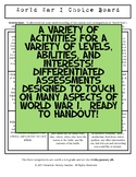 World War I Differentiated Choice Board Assessment
