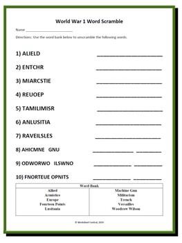 World War 1 - Differentiated Word Scramble w/ Answer Key