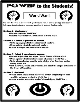 World War I Differentiation Activity - Power to the Students!