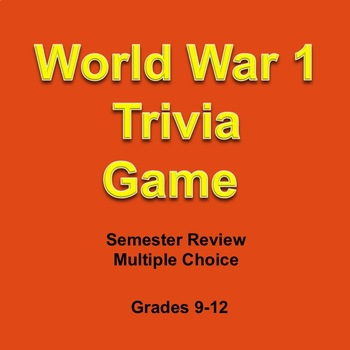 World War I Digital Trivia Game, Technology, Weapons, Test Review, Fun, Editable