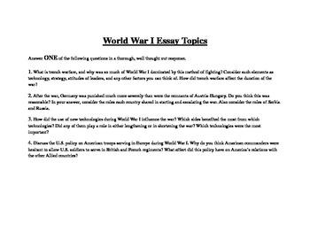 World War I Essay Topics
