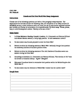 World War I Essay Topics (Academic Canadian History)